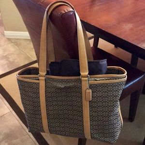 Coach Signature print diaper bag with zip closure